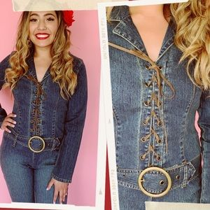 Vtg 90s Denim Belt Buckle Bell Bottoms Jumpsuit S